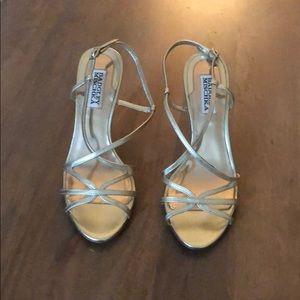 Gold Badgley Mischka Heeled Sandals
